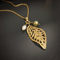 Allison Matte Leaf & Swarovski Crystal Pearl Long Necklace