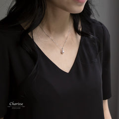 Kristin Japanese Akoya Pearl with Diamond Necklace