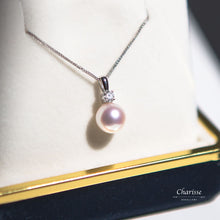 Load image into Gallery viewer, Kristin Japanese Akoya Pearl with Diamond Necklace