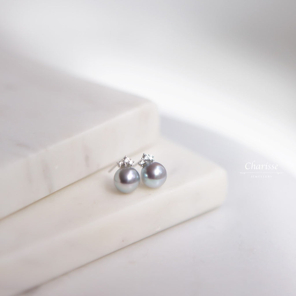 Lydia Japanese Aurora Madara Pearl with CZ Diamond Stud Earrings