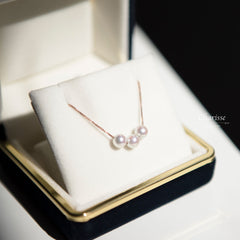 Crystal Triple Japanese Akoya Pearl Necklace