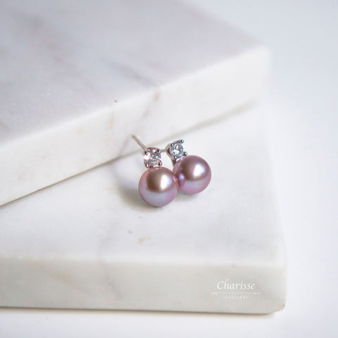 April Violet Japanese Seawater Pearl with CZ Diamond Earrings