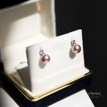 Load image into Gallery viewer, April Violet Japanese Seawater Pearl with CZ Diamond Earrings
