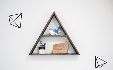 Triangle Shelf + Concrete Succulent Planter