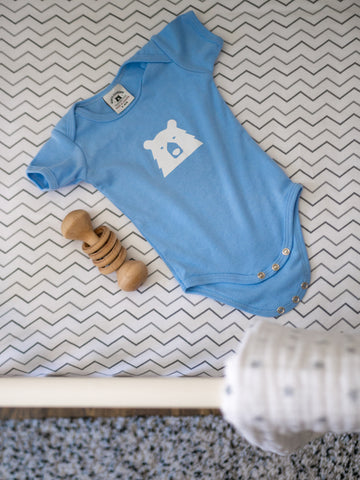 NSTP Bear onesie + Wooden Baby rattle