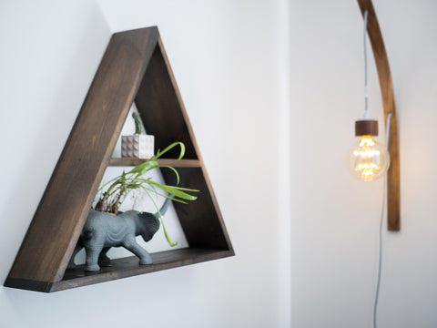 Triangle Shelf + Animal Planter + Curved Lamp