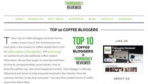 Thoroughly Reviewed Top 10 Coffee Bloggers