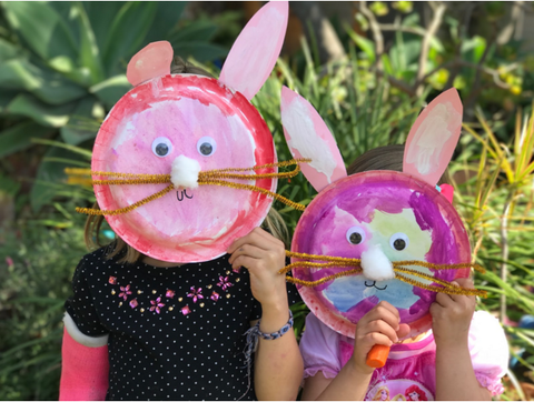 Girls with Bunny Plate Craft