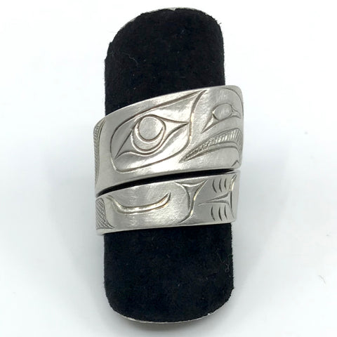 Ring- C. Young, Silver, Wrap, Eagle