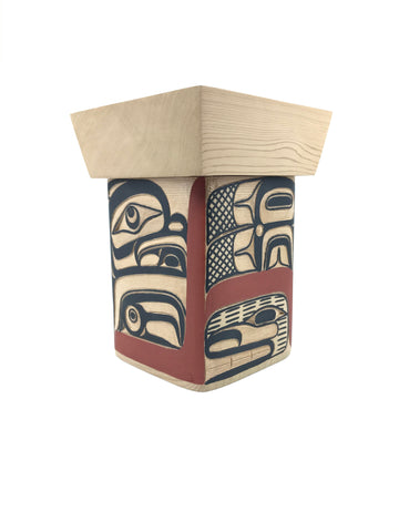 Bentwood Box- D.A. Boxley: Cedar, Carved/Painted, 6""