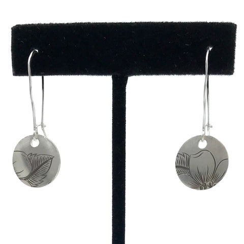 Earrings- J. Younger: Silver, Wild Rose, Disc, 1/2""