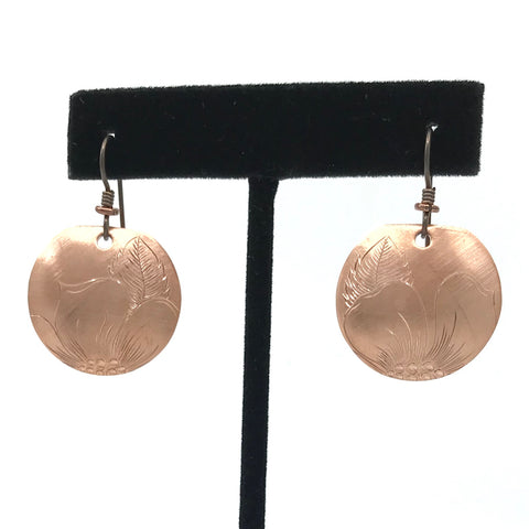 Earrings- J. Younger: Copper, Wild Rose, Disc, 1""