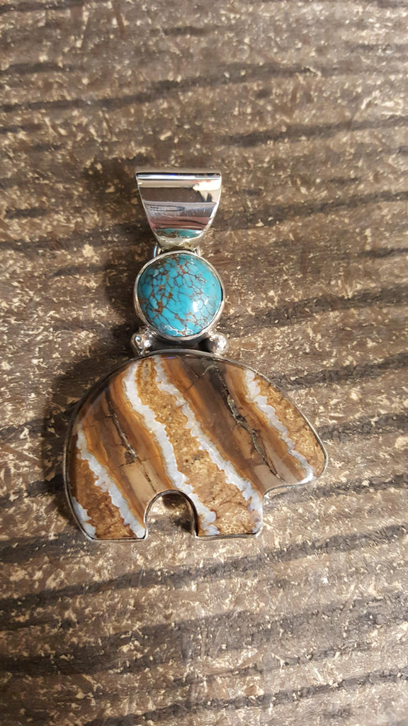 Pendant - Turquoise, Mammoth Tooth; Moon Bear (1)