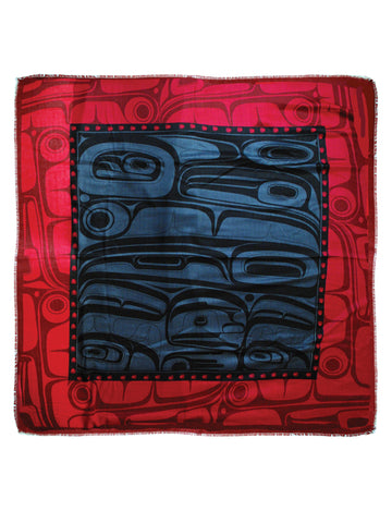 Shawl- K. Robinson: Polyester, Tribal Square Raven, Grey/Red