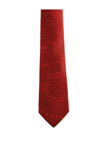 Tie- Klatle-Bhi, Silk, Moon, Red