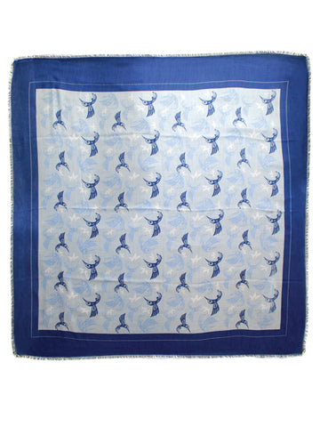 Shawl- B. Helin: Polyester, Hummingbird, Tribal Square, Blue