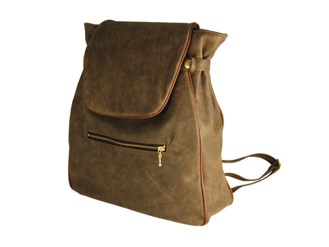 Backpack- Leather (Distressed) w Flap