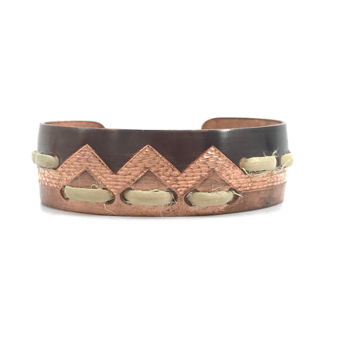 "Bracelet- J. Younger: Copper w/Woven Roots, ""Trail of the Land Otter"" Basket Pattern, 1/2"""