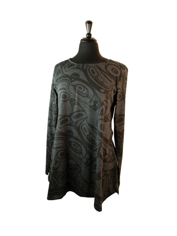 Tunic- K. Robinson, Ladies, Whale Formline, All Over, Charcoal, Large