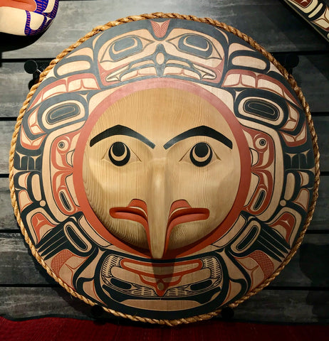 Mask- D. Boxley: Eagle with Beak, Circle Panel w Woven Cedar Rope