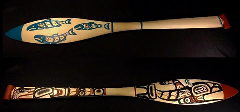 Paddle- D. Boxley: 2 Sided, Killerwhale Front, 3 Salmon Back, 4ft
