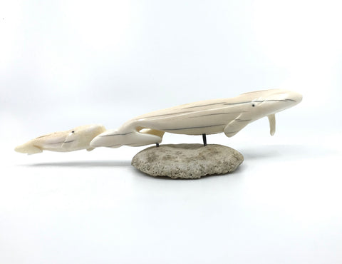 Ivory- L. Apangalook: Mom & Baby Whale/Walrus, Baleen Inlay, Base, Md