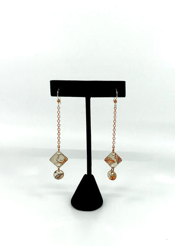 Earrings- J. Younger: Silver Plated Copper, Wild Rose, Dangles, Sq. & Cir.