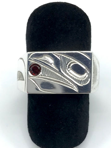 Ring- J. Young: Silver, Raven, Ruby, Sz. 9.5