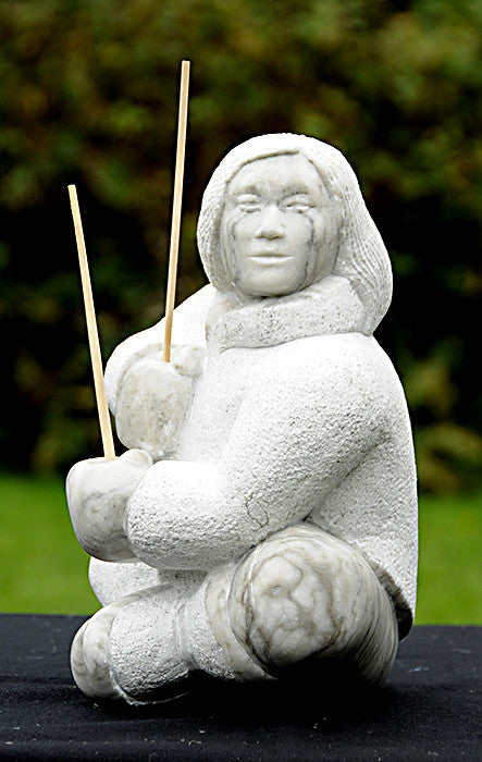"Sculpture - ""Man Dancing a Fishing Dance"" by Lawrence Ahvakana, Inupiaq"