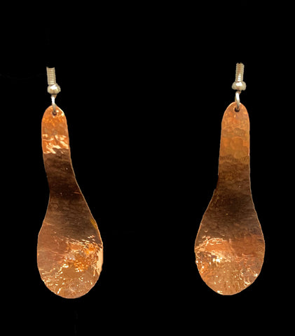 Earrings- B Scheilfman, Hammered Copper, Spoon, 2""
