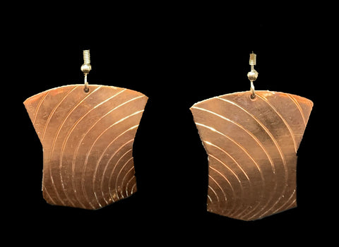 Earrings- B Schleifman, Copper, Tinaa, Woodgrain, 1""