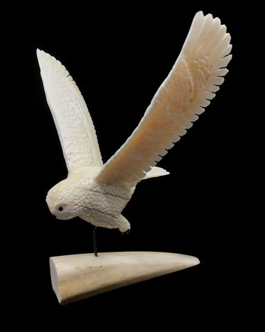 Ivory- E. Tetpon III, Owl w Outstretched Wings on Tusk Base