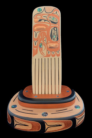 Comb- C. Beck, Painted Cedar with Abalone and Copper Inlays, Raven