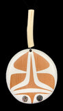 Pendant- C. Beck: Painted Cedar, LG, w Copper, Abalone & Devils Club, Cord, Various