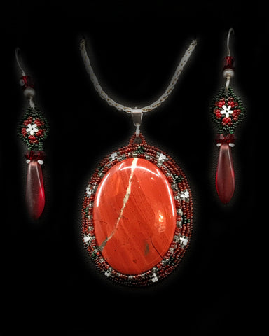 Pendant Set- C. Pook, Red Jasper & Seed Beads