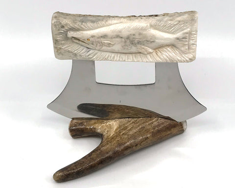 Ulu- Antler, Carved, Salmon
