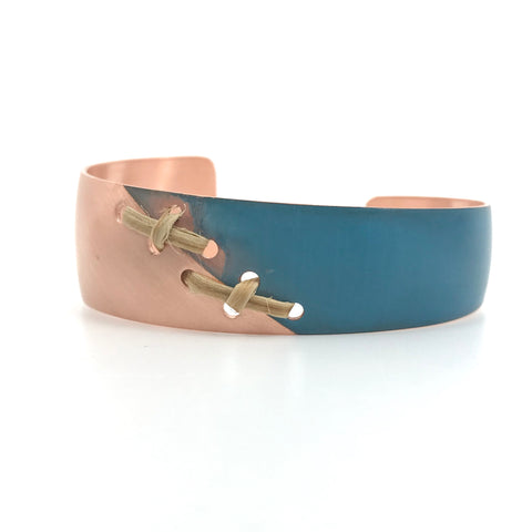 "Bracelet- J. Younger: Copper w/Blue Accent, Spruce Root, Tapering 1/2"" to 1"""