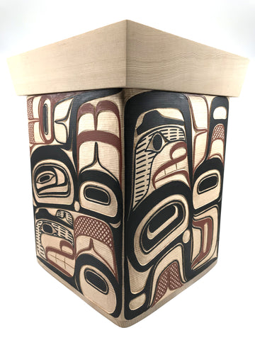 "Bentwood Box- D. A. Boxley, Cedar, Carved/Painted, ""Elements"" 10"""