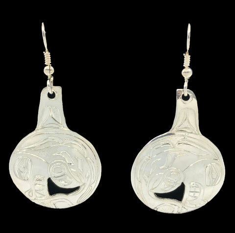 Earrings- D. Chilton, Silver, Disc, Killer Whale
