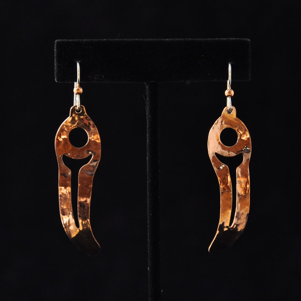 Copper Feather Earrings By Mary Folletti and Roz Cruise