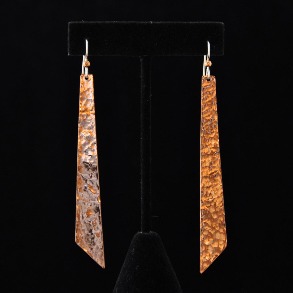 Earrings - Copper Long Angle - Naakée Designs