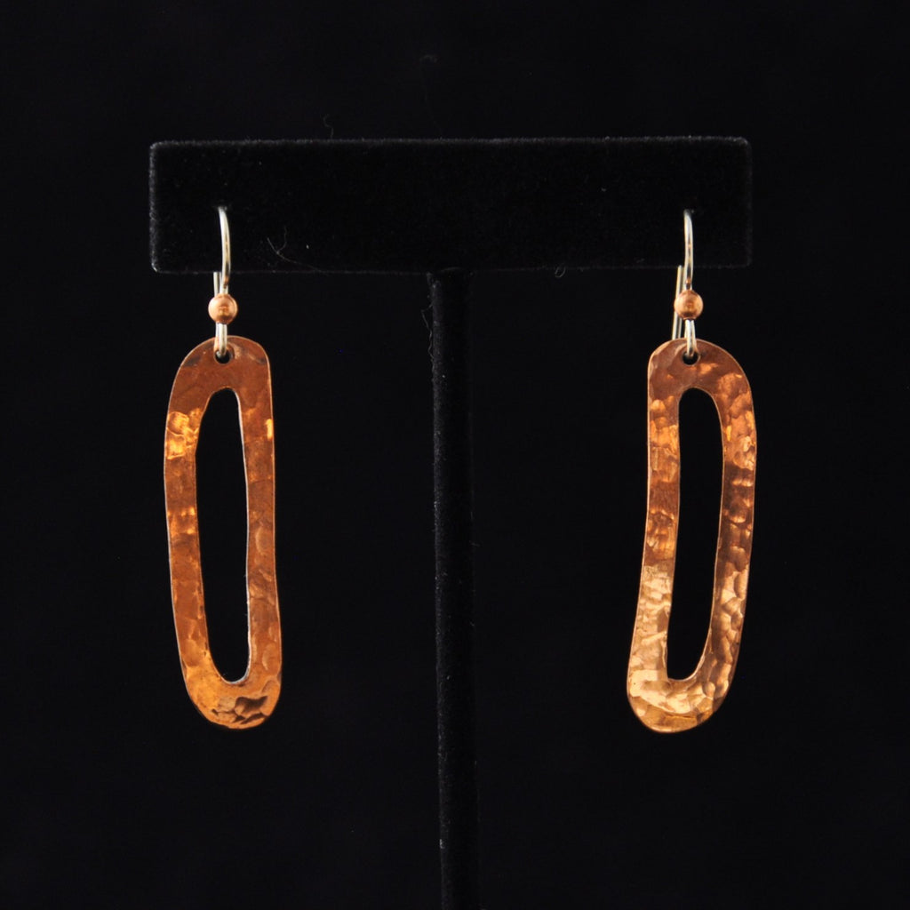 Copper Skinny Ovoid Earrings