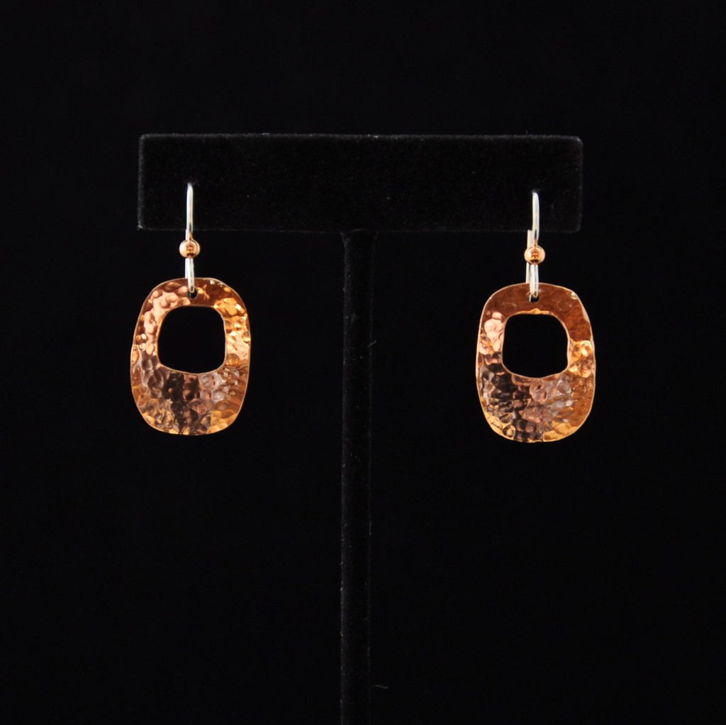 Earrings - Copper Rounded Rectangle w Cut out - Naakée Designs