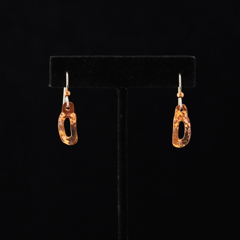 Small Ovoid w Cut out Copper Earrings - Naakée Designs