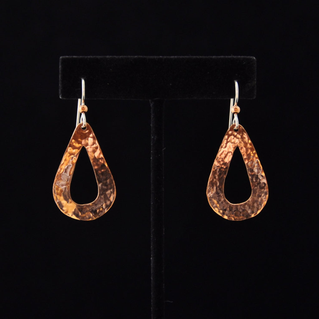Tear Drop w Inside Cut Out Copper Earrings - Naakée Designs