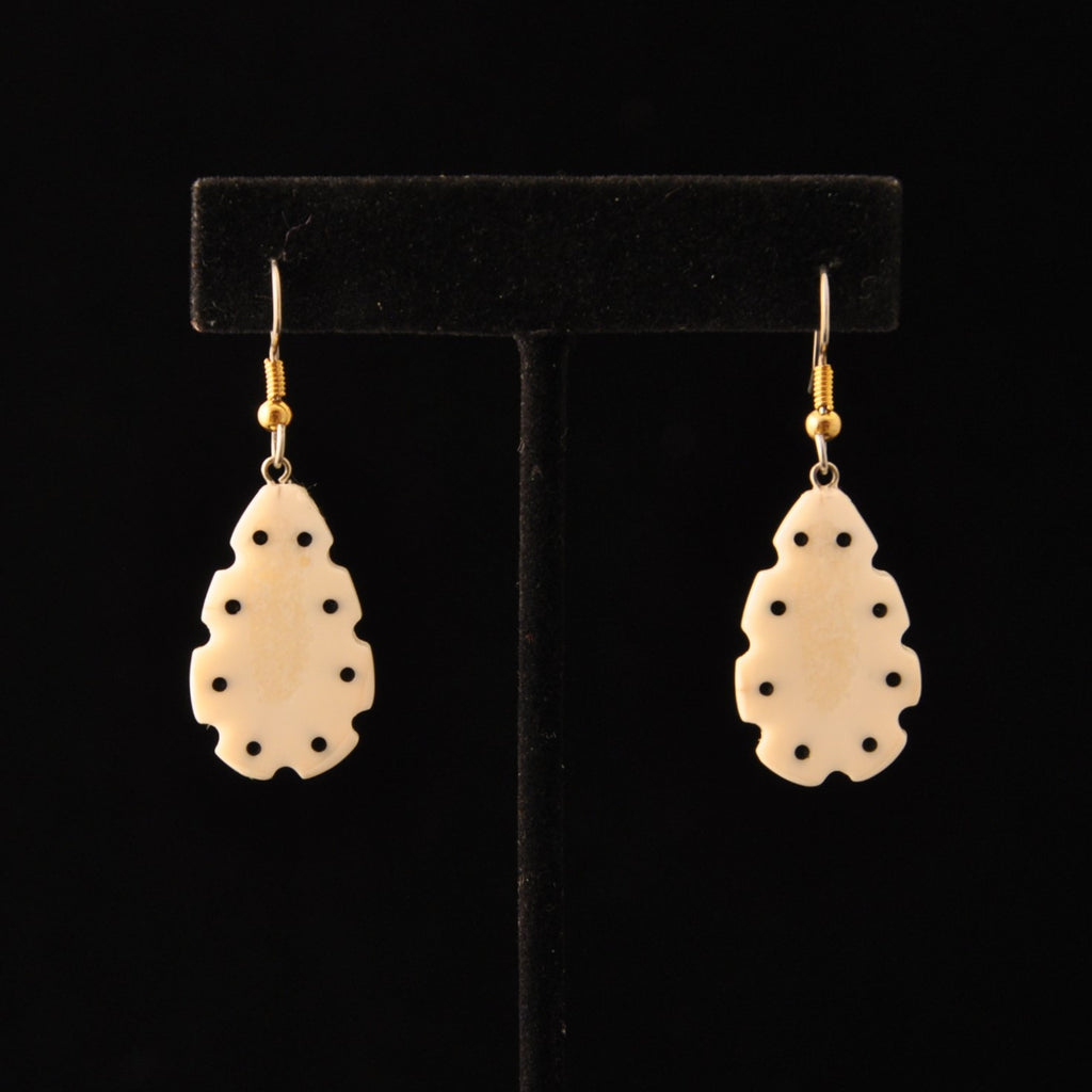 Ivory Earrings w/ Baleen Inlay