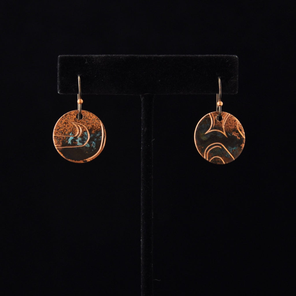 Copper 'Monogrammed Ovoid' Earrings By Jennifer Younger