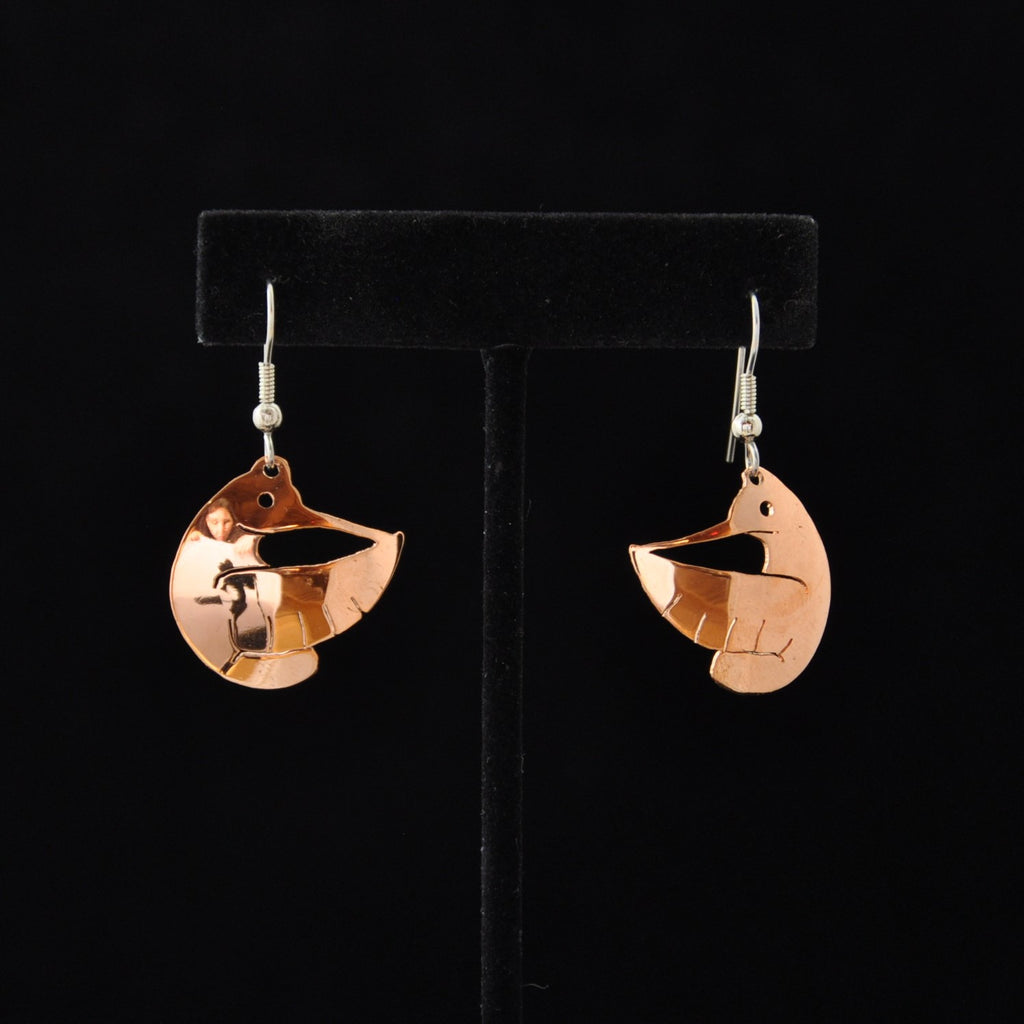 Small Copper Hummingbird Earrings by Leo Marks