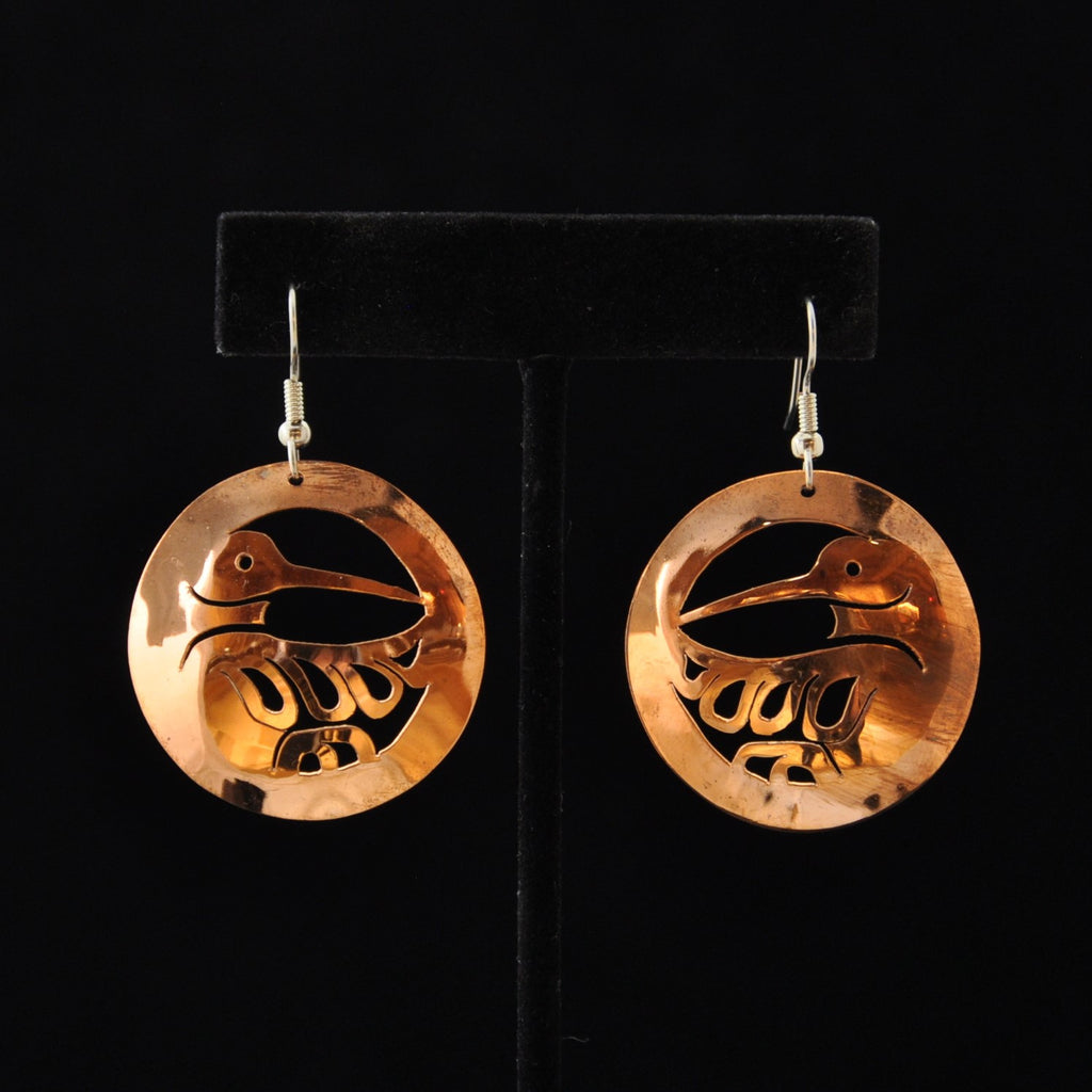 Copper Heron Earrings by Leo Marks