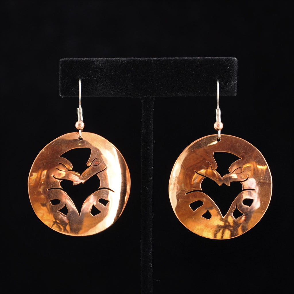 Copper Lovebirds Earrings by Leo Marks